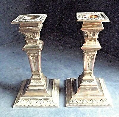 "SMART Pair 6"" ~ Sheffield SILVER Plate ~ GEORGIAN Style ~ CANDLESTICKS ~ c1800"