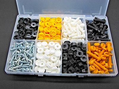 Number Plate Fasteners (Bolt Screws Flip-Caps) Assorted Box QTY 300prs AT86