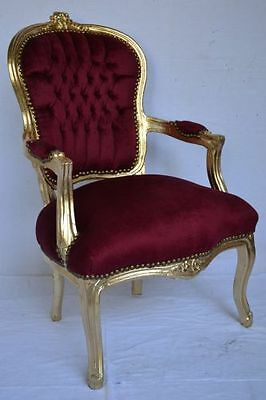 LOUIS XV ARM CHAIR FRENCH STYLE CHAIR VINTAGE FURNITURE   dark red