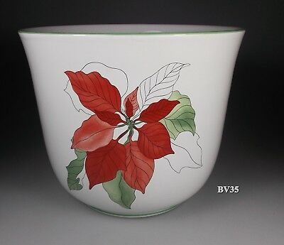 "BLOCK POINSETTIA CACHE POT 6 1/4"" x 7 1/2""  - PERFECT"