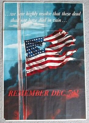 ORIGINAL 1942 WW2 OWI Poster No 14 REMEMBER DECEMBER 7th w American Flag
