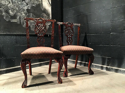 Can Deliver Pair Of Antique Chipendale Style Mahogany Vintage Dining Chairs 2