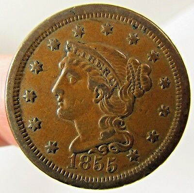 1855 LARGE CENT BRAIDED HAIR COIN - UPRIGHT 5's