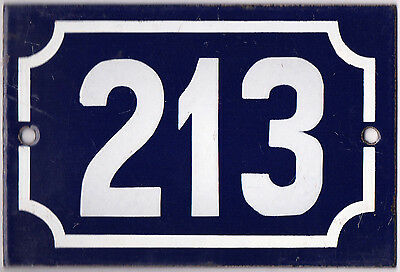 Old blue French house number 213 door gate plate plaque enamel steel metal sign