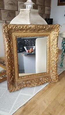 Small Antique French Mirror Rococo Revival Gold Overmantle Mirror Rustic Chic