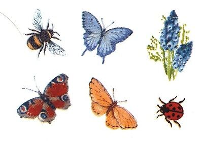 "6 Butterfly Blue Bonnet Bee Ladybug 3/8"" to 7/8"" Waterslide Ceramic Decals Bx"