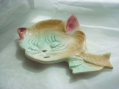Cat with Attitude Vintage Spoon Rest Ceramic Ash Tray 7 inch Hand Painted