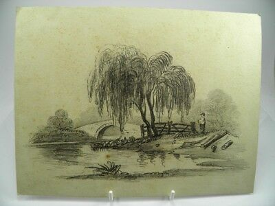 Antique 19th century English School pencil drawing river landscape with figure