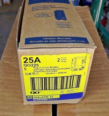 lot of 5...Square D 2P QO225 Standard Plug In Circuit Breaker 25A 120/240VAC,