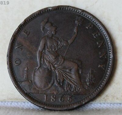 """1865 Great Britain One Penny """"XF"""" *Free S/H After 1st Item*"""
