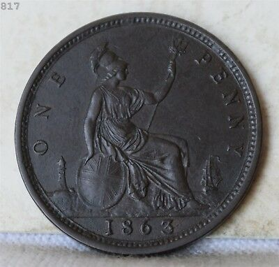 """1863 Great Britain One Penny """"AU"""" *Free S/H After 1st Item*"""