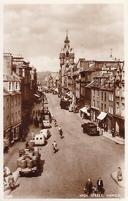 Hawick - High Street & Old Cars - Lovely Real Photo By Edwards 1952