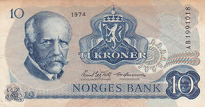 10 Kroner Very Fine Banknote From Norway 1974!pick-36