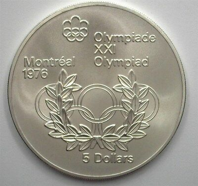 Canada 1974 Silver $5 -Montreal Olympics, Olympic Rings- Near Perfect Unc