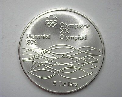 Canada 1975 Silver 5 Dollars - Olympics Series - Swimmer  Near Perfect Unc