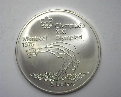 Canada 1975 Silver 5 Dollars -Diver, 1976 Olympics- Near Perfect Uncirculated