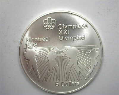 Canada 1976 Silver 5 Dollars -Boxing, 1976 Olympics- Perfect Uncirculated