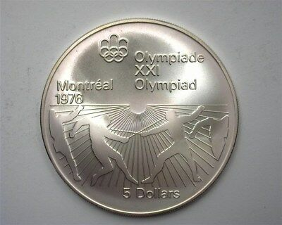 Canada 1976 Silver 5 Dollars -Fencing, 1976 Olympics- Perfect Uncirculated