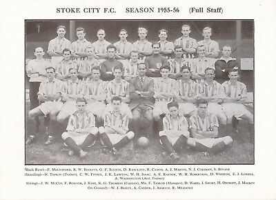 Team Photograph: Stoke City Fc 1955 / 1956