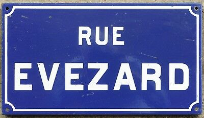 Old French enamel street sign plaque road name plate rue Evezard Etampes 1970s