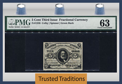 Tt Fr 1238 5 Cent Fractional Currency Third Issue Pmg 63 Choice Uncirculated!