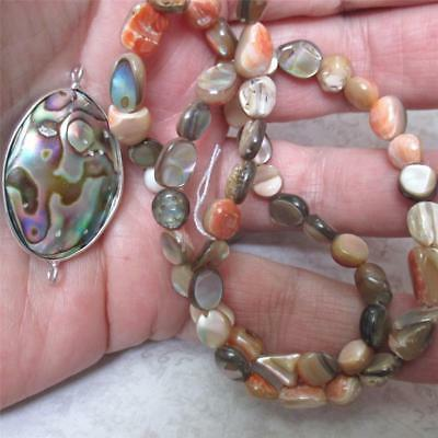 """ONE, 15"""" strand of Mother of Pearl ABALONE Nugget Beads, PLUS Abalone Pendant"""