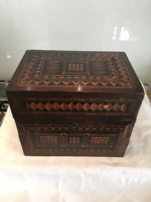 Antique 18th,19thc Inlaid Box,geometric,tunbridge Style, Apprentice Peice