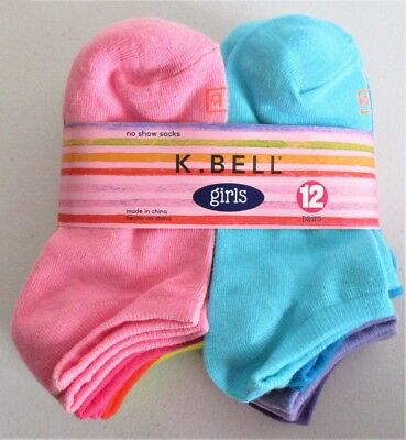 K. Bell Girls No Show Socks 12 Pack Assorted Colors Shoe Size 10-13 or 13-4, NWT