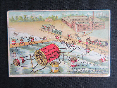 1890 BRAINERD & ARMSTRONG Seaside Frolic Brownie Spools Trade Card RARE