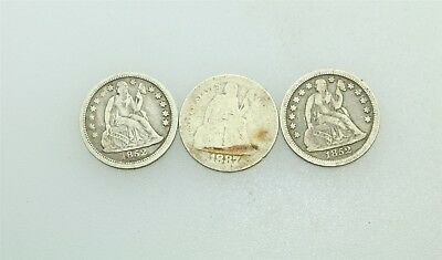 3 Seated Liberty Silver Dimes
