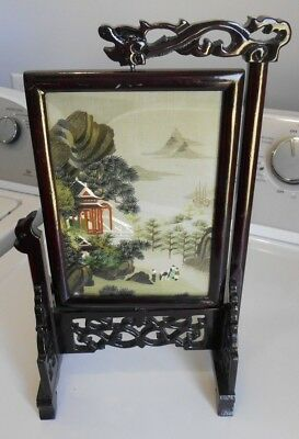 Vintage Asian Embroidered Double Sided Silk Table Screen Hand Carved on Stand