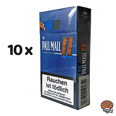 10x Pall Mall Blue / Blau XL Filter Cigarillos  (17 Stück)