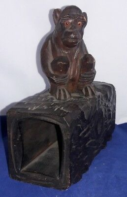 19thC BLACK FOREST GERMANY CARVED MONKEY SITTING ON A HOLLOW LOG