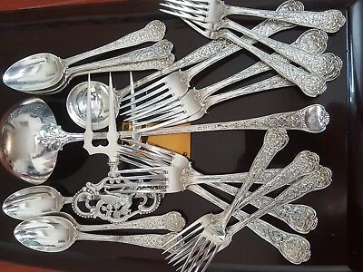 Rare Cir 1846 Victorian 21 pcs Sterling Silver Set by George Adams almost 2 Kg!