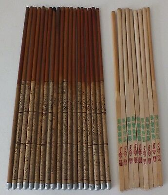 vintage etched bamboo chopsticks with metal tips Lot of 19