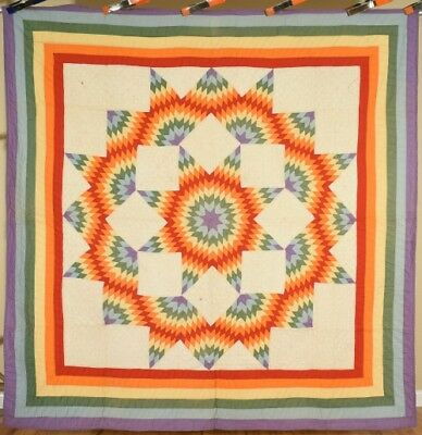 VIBRANT, WELL QUILTED Vintage 30's Broken Stars Antique Quilt ~RAINBOW BORDER!