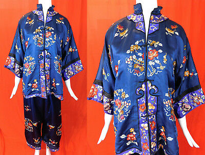 Vintage Chinese Blue Silk Floral Butterfly Hand Embroidered Pajamas Pants Robe