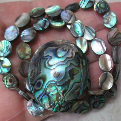 """ONE, STUNNING, 15.5"""" strand of Abalone Ovals PLUS Puff Oval FOCAL bead to match"""
