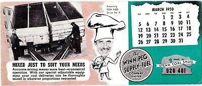 Winnipeg Supply & Fuel Company Ink Blotter 1950 Steam Coal Supplier wolu6