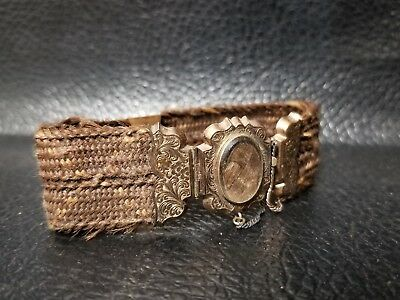 ANTIQUE Victorian MOURNING BRAIDED Human HAIR BRACELET ENGRAVED rare civil war ?