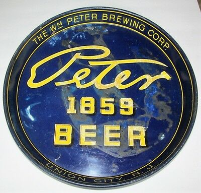 "Peter 1859 Beer Wm Peter Brewing Co Union City NJ 12"" Blue Beer Tray"
