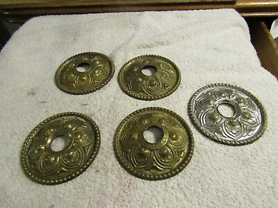 "Antique Victorian Brass Sculptured Decorative Ornate 3"" Cover Plates w 3/4"" Hole"