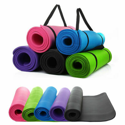 THICK 10mm/8mm  Exercise Yoga Mat Gym Workout Fitness Pilates Pad Carrying Strap