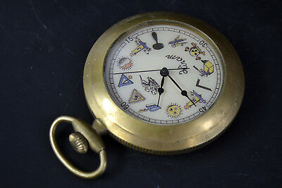Collectible Clock Copper good Used Mechanical armstrong's patent Pocket Watch A