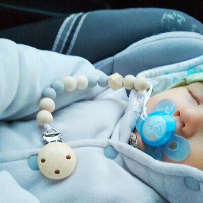 1X Baby Pacifier Clip Chain Holder Beads Nipple Dummy Soother Wood Silicone Gift