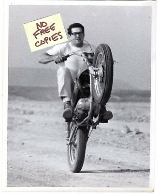 Vintage 1960s 8 x 10 Motorcycle Photo NERD POPPING A WHEELIE Original MIKE SMITH