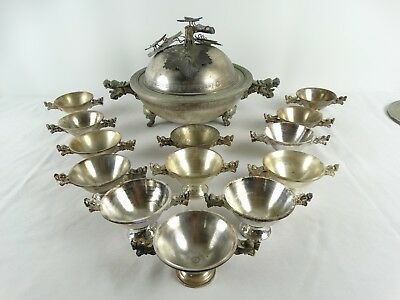 RARE Antique Chinese Dragon Head handled Silver plated Bronze Dinner Set China