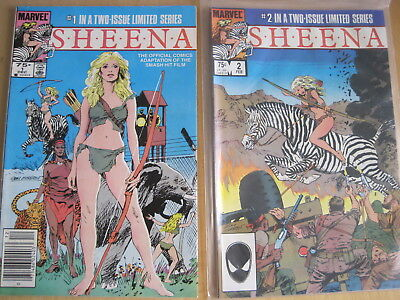SHEENA : COMPLETE 2 ISSUE MARVEL 1984 SERIES, ADAPTATION of the MOVIE