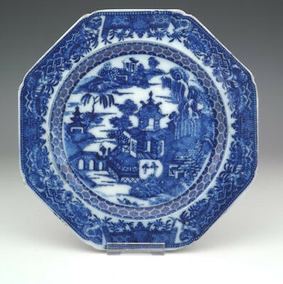 Antique English Pottery - Flow Blue & White Transferware Plate - Nice!