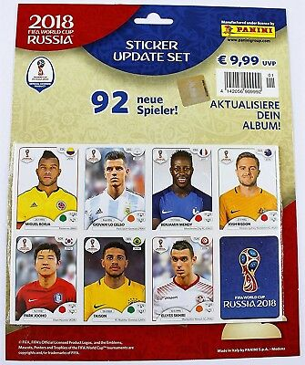 Panini World Cup 2018 Russia - sealed set of 92 update / extra stickers NEW